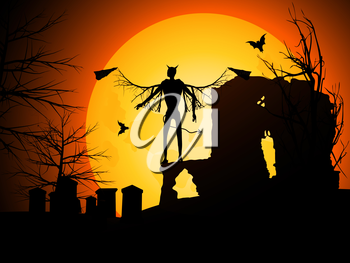 Halloween Background with Devil Bats and Moon