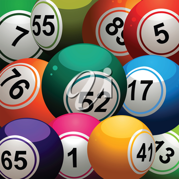 Bingo Balls Close Up Background with Different Size Balls