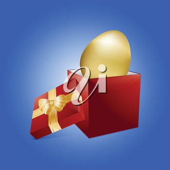 Golden 3D Easter Egg Coming Out From a Red Gift Box with Bow and Ribbon