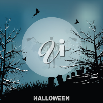 Halloween Background with Big Moon Graveyard Evil Angel Shadow and Decorative Text