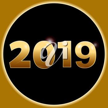3D Illustration of New Year 2019 in Golden Numbers with Lens Flares and Lights Over Circular Black Border