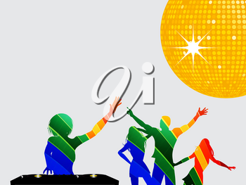 Multicoloured Silhouettes of Female DJ with Records Deck and Dancing People Over Gray Background with Yellow Disco Ball