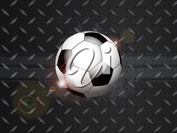 3D Illustration of Soccer Football On Black Metallic Diamond Plate with Grunge Details and Lens Flares