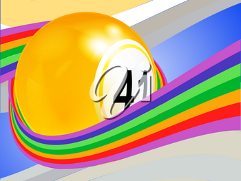 3D Illustration of Yellow Bingo Lottery Ball Wrapped in a Curved Rainbow Over Abstract Background