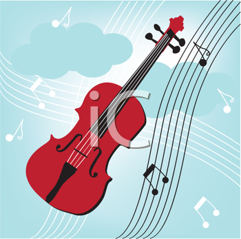 Royalty Free Clipart Image of a Violin on a Music Background