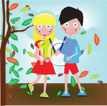 Royalty Free Clipart Image of Two Children Going to School