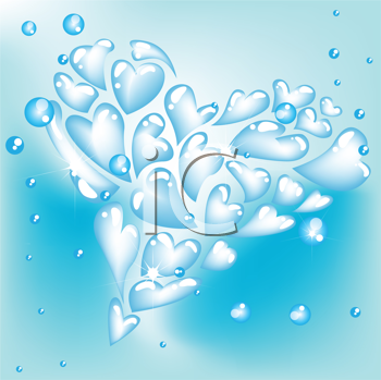 Royalty Free Clipart Image of a Heart Bubble Background