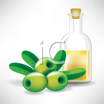 Royalty Free Clipart Image of Olives and Olive Oil