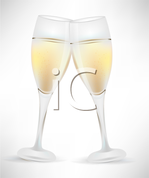 Royalty Free Clipart Image of Two Wine Glasses