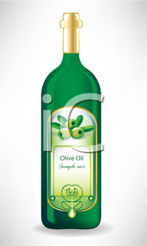 olive oil glass bottle with label with drop