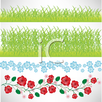 grass and flowers borders isolated
