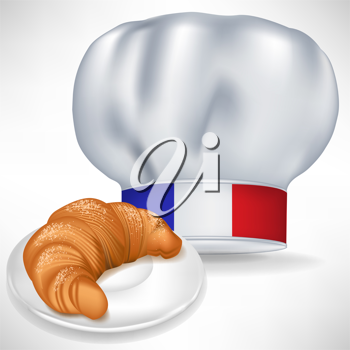 french cooking chef hat with croissant isolated on white
