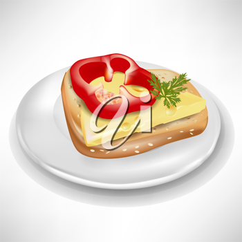 sandwich with pepper and cheese on plate isolated