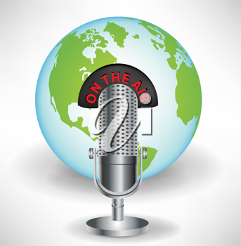 microphone with earth globe global communications concept