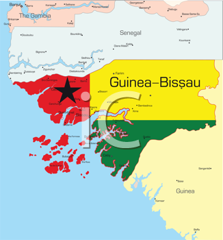 Royalty Free Clipart Image of a Map of Guinea-Bissau Coloured Like the Flag