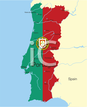 Royalty Free Clipart Image of a Map of Portugal Coloured Like the Flag