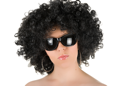 Royalty Free Photo of a Woman Wearing a Wig and Sunglasses