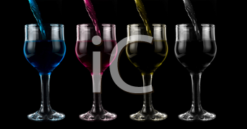 Royalty Free Photo of Wine Glasses Full of Colorful Liquid