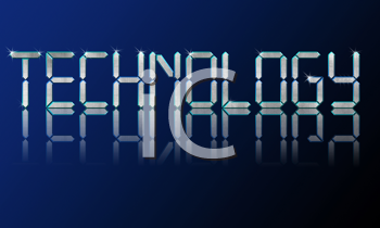 Big diamond shiny letters technology with glow on blue background