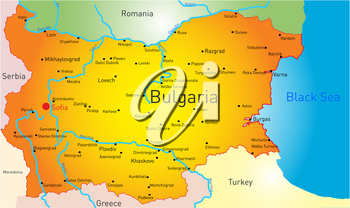 Royalty Free Clipart Image of a Map of Bulgaria