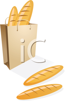 Royalty Free Clipart Image of a Shopping Bag With Bread