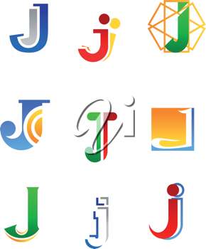 Set of alphabet symbols and elements of letter J