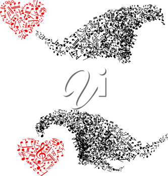 Abstract shapes with musical notes and hearts for art design