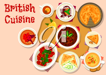 British cuisine lunch dishes icon of sausage baked in bacon, beer soup with cheese, duck meat pie, chocolate and rice pudding, cucumber sandwich, dried fruit cake. Christmas menu design
