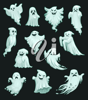Halloween ghosts and spooky cartoon monsters isolated icons. Vector Happy Halloween greeting card and trick or treat party invitation design