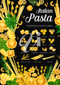 Italian pasta, Italy traditional cuisine restaurant menu. Vector Italian homemade pasta fusilli, ravioli and gnocchi, ditalini and rotelle, cooking spices and tortelloni with fettuccine and linguini