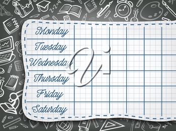 School timetable chalk design of weekly lesson schedule on black chalkboard with stationery pattern. Vector school bag or education supplies chemistry book, microscope or geography globe on blackboard