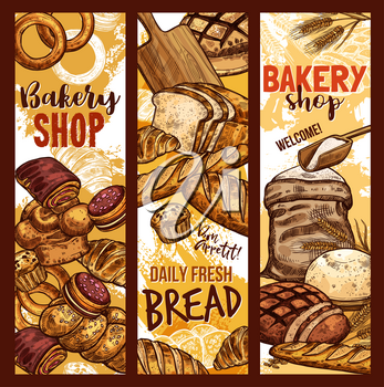 Bakery shop sketch banners of baked bread, flour sack bag and sweet desserts. Vector design template of baker store wheat loaf and rye bagel or chocolate croissant, baguette and toast for breakfast