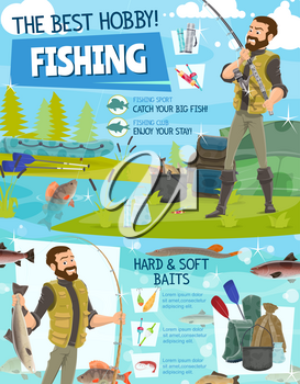 Fishing equipment, fisher hobby and sport adventure. Vector fisherman with rod, rubber boat and tackles or lures in haversack at lake or sea catching fish pike or perch and sheatfish
