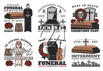 Funeral service coffin at cemetery vector icons of burial, cremation or interment ceremony design. Death memorial tombstones and crosses, urn, bible and priest, ritual flower wreath and angel statue