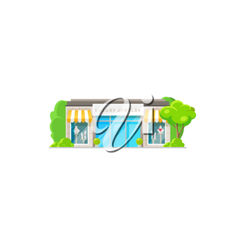 Womens clothing store isolated shop exterior flat cartoon design. Vector bright colorful facade, fashion showroom or luxury mini store to buy dresses. Boutique or mall building storefront with trees