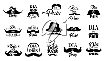 Fathers Day mustache and hat vector icons with Dad holiday lettering quotes in Portuguese. Dia dos Pais hand drawn font greeting cards with hipsters moustaches and retro bowler caps