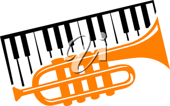 Piano keyboard and trumpet for musical design