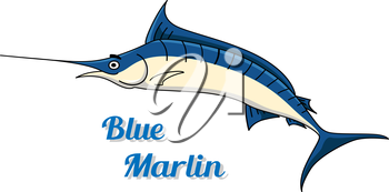Blue marlin fishing icon with a graceful side view of the fish and the text - Blue Marlin - below