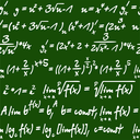 Seamless green and white background pattern of mathematical equations handwritten in chalk on a board