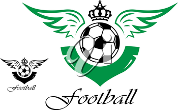 Football or soccer symbol with crown, wings and text for sports design