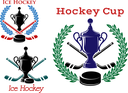 Ice hockey emblems and symbols with laurel wreaths, puck, sticks and sports trophy