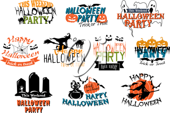 Set of vector Halloween party and Happy Halloween designs with various texts decorated with black cats, ghouls, ghosts, bats, witches, gravestones, jack-o-lantern pumpkins and spiders