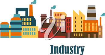 Industrial buildings flat design for industry and ecology concept