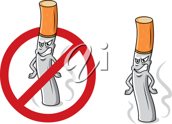 Cartoon angry cigarette butt with smoke, fire and stop sign for antinicotine and healthcare design