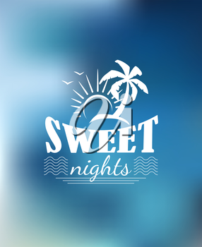 Summer Paradise poster design with a sun, waves, palm, birds and text Sweet nights. For travel, tourism or logo design