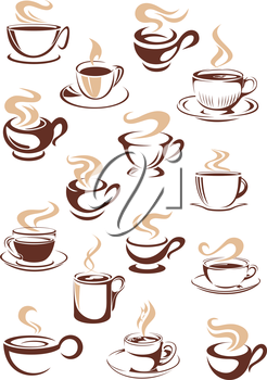 Set of vector sketch steaming hot cups of coffee or tea in brown and white with different shapes as design elements for a coffee house or restaurant