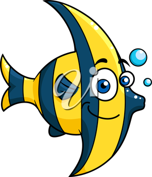 Smiling cartoon striped tropical fish with blue and yellow stripes swimming underwater with bubbles, vector illustration isolated on white