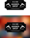 Barber Shop sign in a rectangular frame with text Welcome Barber Shop with hairdryers