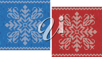 Red and blue stitch patterns with snowflakes and borders for seasonal and dress design