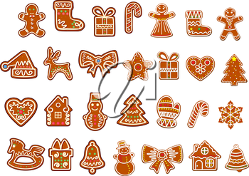 Big Christmas cookies collection with gingerbread and cookies figures of snowman, gift boxes and sock, gingerbread men, stars decorated curlicues of colored glaze isolated on white background